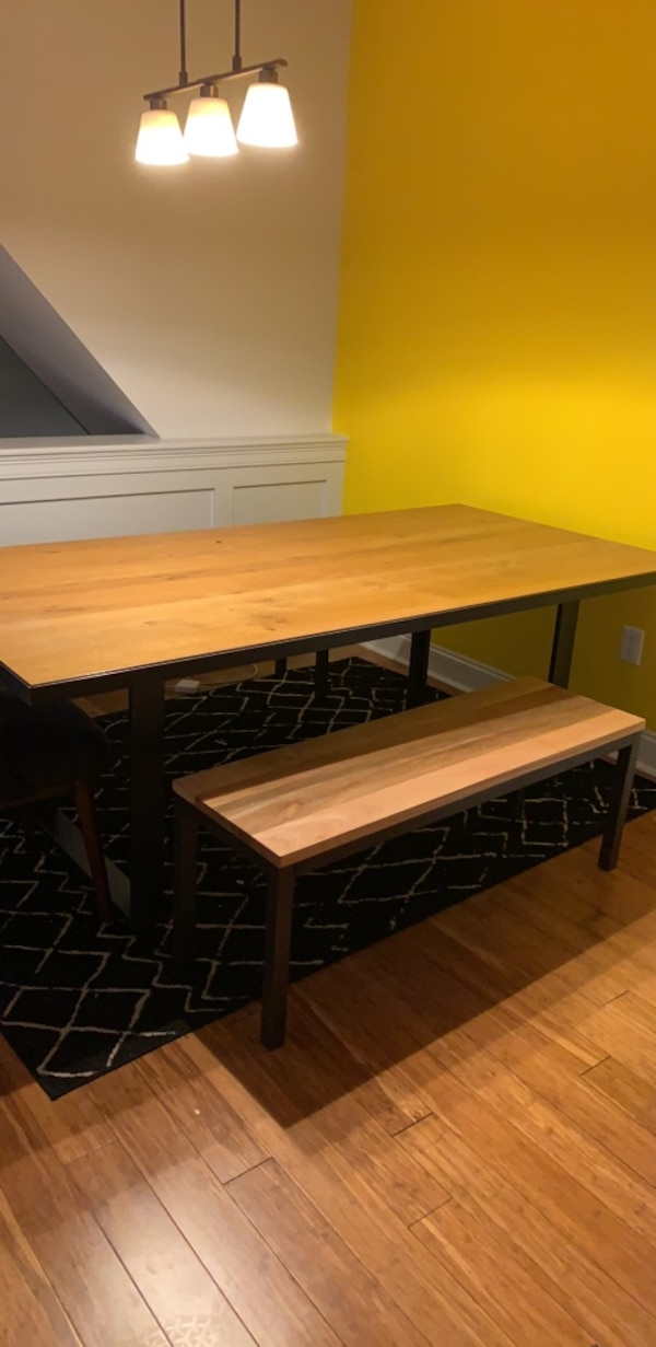 West Elm Dining Room Set, industrial oak steel table and 2 benches