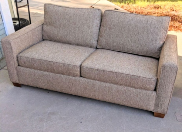 Tan Brown Tweed Fabric Sofa Couch Delivery Avail