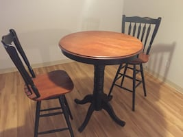 Bar table and chairs.