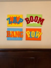 4 hand painted kids theme canvas with 3D wood letters.  Pearland, 77584