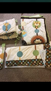 Baby comforter, bumper pads, crib skirt and and window valance
