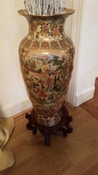 Large Antique Porcelain Vase With wood stand Fairfax