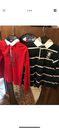 2 Polo Ralph Lauren Boys Cotton Hooded Rugby Shirt Choose Size S/p8