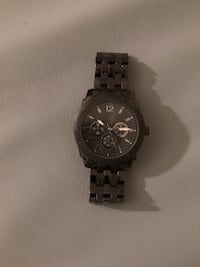 Round black chronograph watch with link bracelet Winnipeg, R3M 0Y3