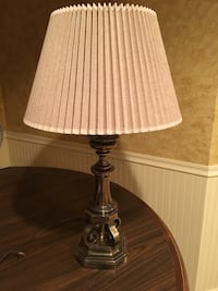 Stiffel Table Lamp with Pleated Shade, Antique Brass base