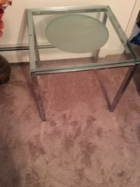 square glass-top with chrome base side table