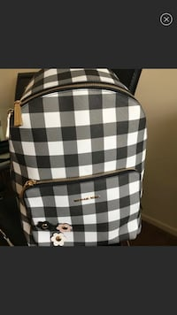 White and black checkered leather backpack Los Angeles, 90027
