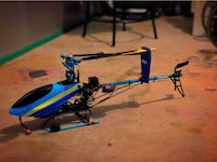 Blue and black rc helicopter. New York, 11379