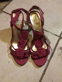 pair of red open-toe ankle strap heels 834 mi
