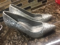 Gray glittered leather pointed-toe stiletto shoes