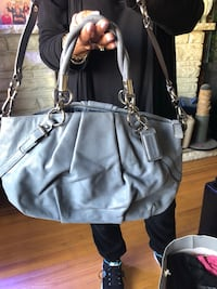 gray leather 2-way bag