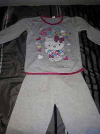 girl's gray and pink Hello Kitty pajama set