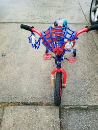 toddler's red and blue bicycle with training wheels Huntington, 11743