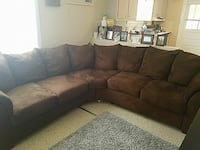 brown suede sectional sofa with throw pillows Houma, 70364