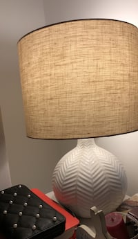 brown wooden base white shade table lamp 930 mi