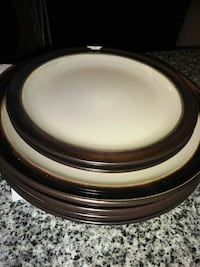 white and brown ceramic plate lot