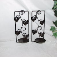 Candle Holder Wall Sconces Two Black Metal Leaves Mississauga