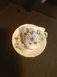 white-blue-and-green floral ceramic teacup and saucer Victoria, V9A 1N5