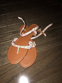 Brown-and-multicolored floral strap sandals