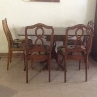 rectangular brown wooden table with six chairs dining set 3745 km