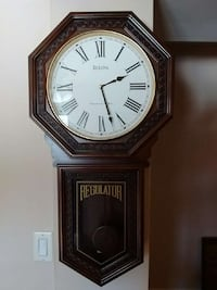 brown regulator wall pendulum clock 649 km