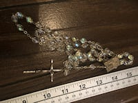 Vintage Italy Aurora Borealis Catholic Rosary Lourdes Pilgrimage Holy Water Vial Glass beads. Courtice, L1E 0H5