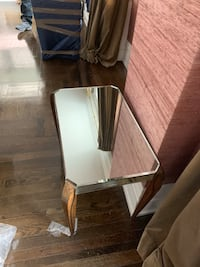 Glass Side table with wooden legs