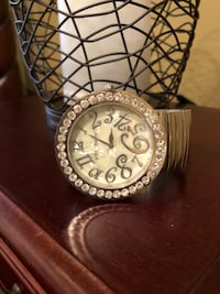 Betsy Johnson watch, silver, flexible band, round face with rhinestones Port Saint Lucie, 34986
