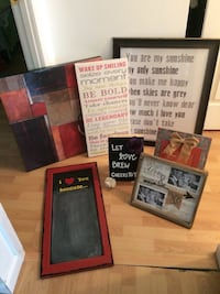 Pictures $12 each back row and chalkboard handcrafted $10 smaller one press profile pic to see lots more stuff Saint Peters, 63376