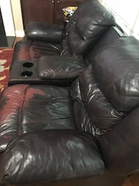 Black leather 3-seat recliner sofa, 2 seat leather sofa with a leather table