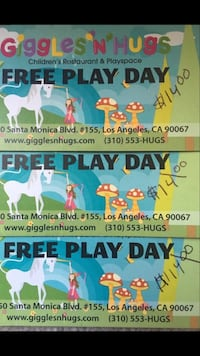 Giggles 'N' Hugs 3 Free Play Day Cards With A Value Of $14.00 Per Child / Topanga Location Los Angeles, 90024