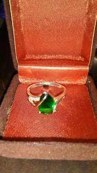 Emerald and diamond ring silver setting