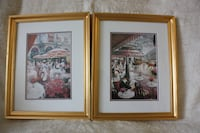 "2 matching prints of Place de L'Opera, Cafe de la Paix Paris,  13X16"" Burlington"