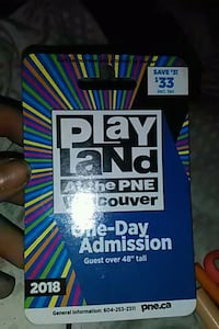 2 pne playland one day admission gate and ride  Surrey, V3T 3T6