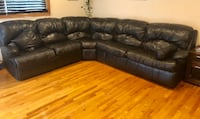 brown leather sectional sofa with throw pillows New Milford, 07646
