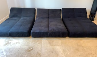 Sofa Lounger and bed  (set of 3, convertible, futon)
