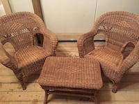 two brown wicker armchairs with ottoman North Dumfries, N0B