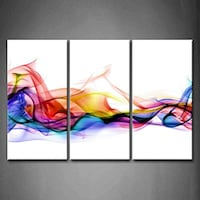 3 Panel Abstract Wall Art Painting With Colorful Smoke and White Background Sandy, 84094