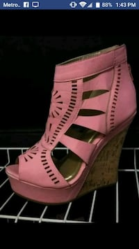 pair of pink leather open toe ankle strap heels Bristol