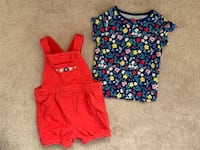Like new 2-piece Carter's overall shorts with matching shirt set - size 18 months  Halton Hills, L7G 0H7