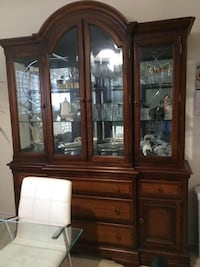 Brown wooden framed glass china cabinet Brampton, L6V 6A2