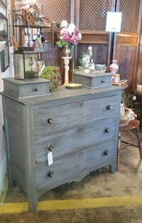 Antique refinished dresser, vintage chest with glove drawers