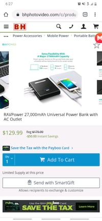 RAVPower27,000mAh Universal Power Bank with AC Outlet  Las Vegas, 89115
