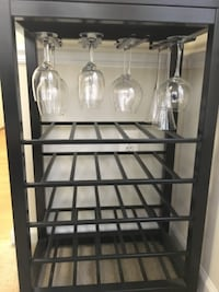 black metal framed glass top rack ALEXANDRIA