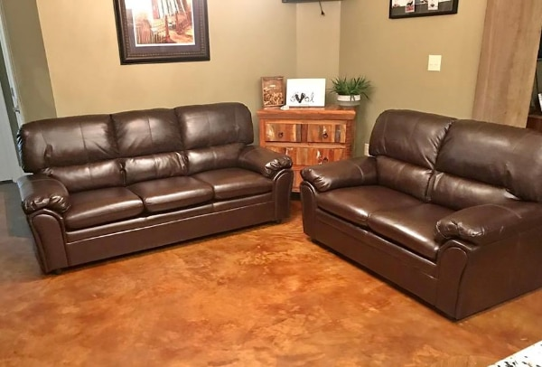 Soft brown leather like sofa and loveseat – NEW