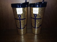 2 slant blue and gold tumbler