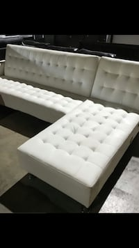 White leather sofa bed chaise on left or right side