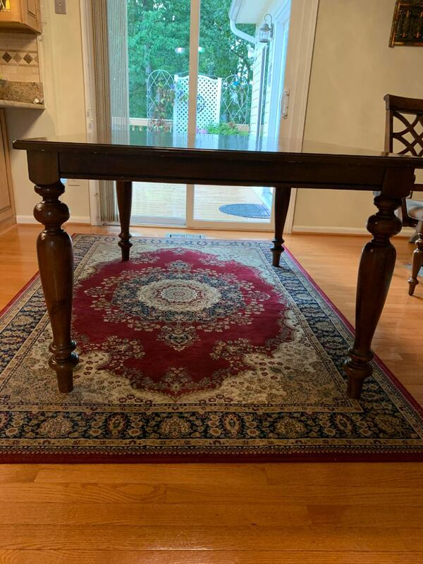 All Wooden Table and 6 chairs - FAIR CONDITION 68422903-973c-4444-8c8f-475110ec86df