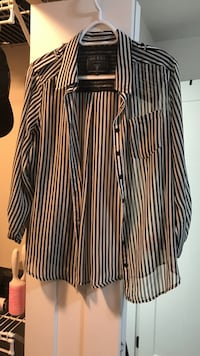 Black and white guess striped dress shirt