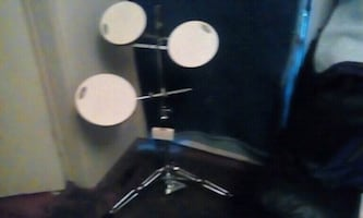 black and white drum set